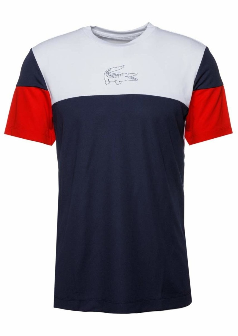 Lacoste Men's Sport Short Sleeve Ultra Dry Technical Color Blocked T-Shirt White/Navy Blue/red