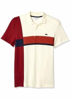Lacoste Men's S/S Colorblock 2 PLY Regular Pique Polo Slim FIT geode/Navy Blue/IBERIS/Pinot