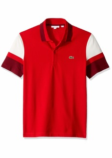 Lacoste Men's S/S Colorblock Strech Pique Slim FIT Polo red/Flour/Pinot