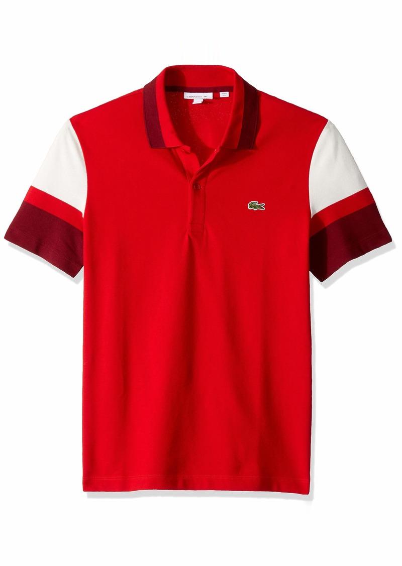 Lacoste Men's S/S Colorblock Strech Pique Slim FIT Polo red/Flour/Pinot