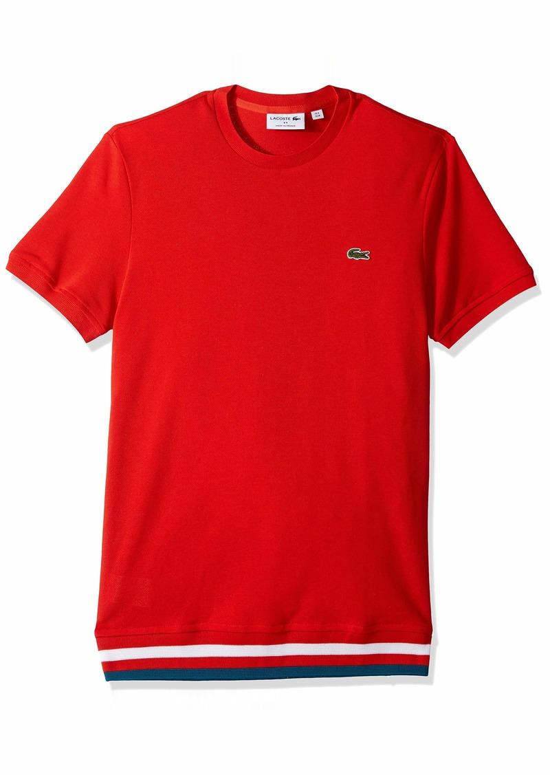 Lacoste Men's S/S Pique 2 Stripe T-Shirt SALVIA/LUCIDA/White