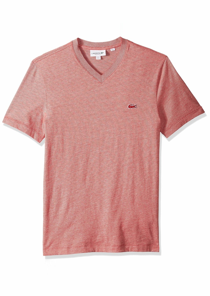 Lacoste Men's S/S Striped Jersey Raye T-Shirt Regular FIT red/Flour