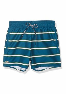 Lacoste Men's Striped Elastic Waist Swim Trucks  L