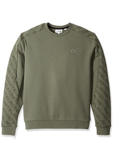 Lacoste Men's Tennis Brushed Fleece Crew Neck Sweatshirt with Printed Sleeve