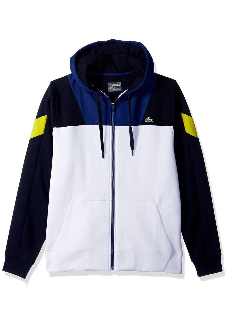 a7febdfc33422 Lacoste Men s Tennis Brushed Fleece taffetas Full Zip Hoodie Sweatshirt  White Navy Blue