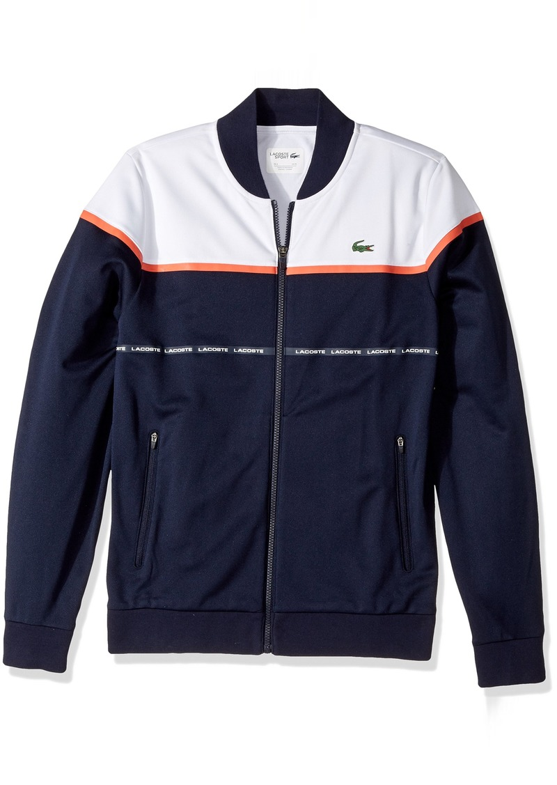 a0e8f3923 Lacoste Men s Tennis Indemaillable Colorblock Full Zip Sweatshirt Navy Blue  White Mexico red 4X