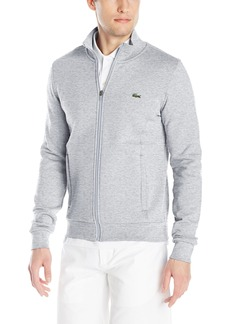 Lacoste Men's Tennis Training Sport Full Zip Fleece Sweatshirt Silver/Gray Chine 9