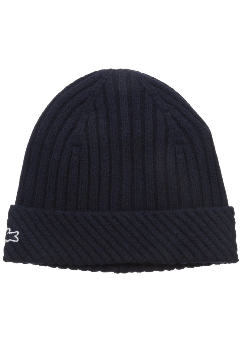 Lacoste Men's Wool Heavy Knit Cap with Tonal Croc