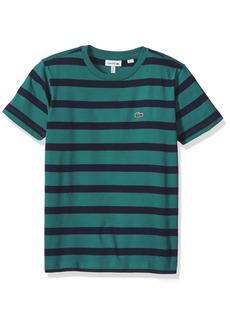 Lacoste Toddler Boys' Short Sleeve Heather Stripe Crew Neck T-Shirt