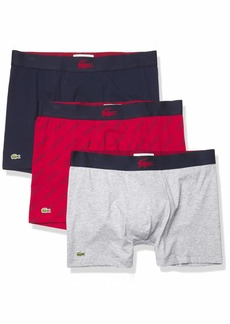 Lacoste Underwear Men's Casual All Over Wording Print 3Pack Cotton Stretch Boxer Briefs Alizarin/Navy Blue-Silver XS