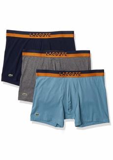 Lacoste Underwear Men's Casual Lifestyle Neon Waistband 3Pack Cotton Stretch Boxer Briefs Navy Blue/Pitch Chine-LIM S