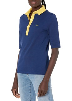Lacoste Women's 3/4 Sleeve Contrast Placket Slim Fit Polo Shirt SCILLE/Anthemis