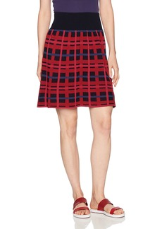 Lacoste Women's All-Over Jacquard Print Crepe Wool Skirt Navy Blue/Turkey Red-Beaujolais 09E-Philippines Blue