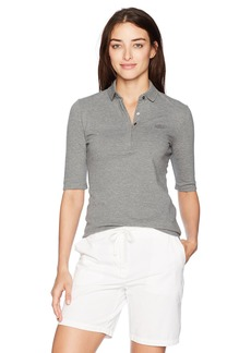 Lacoste Women's Classic Half Sleeve Slim Fit Stretch Pique Polo GALAXITE Chine