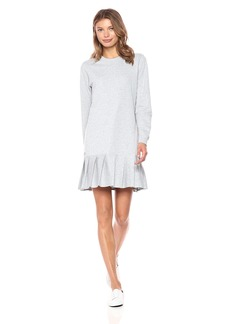 Lacoste Women's Crepe Non Brushed Fleece Sweater Dress with Pleated BottomLarge 40/US