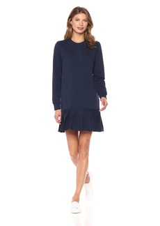 Lacoste Women's Crepe Non Brushed Fleece Sweater Dress with Pleated BottomX-Large 42/US