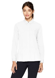 Lacoste Women's Crepe Shirt with 1 Chest Pocket and Pleated Bottom