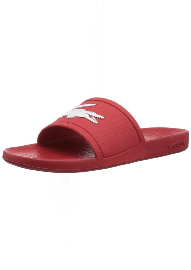 Lacoste Women's FRAISIER Slide Sandal red/White Synthetic  Medium US