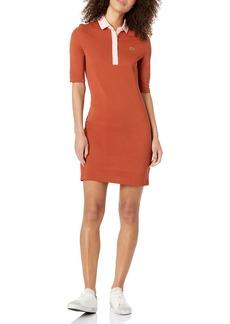 Lacoste Women's Half Sleeve Slim Fit Contrast Placket Polo Dress BRIQUETTE/Bagatelle Pink