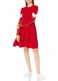 Lacoste Womens Long Sleeve Argyle Colorblock Dress Casual Dress