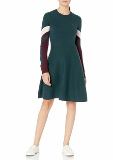 Lacoste Womens Long Sleeve Argyle Colorblock Dress Casual Dress