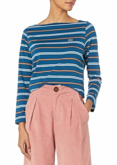 Lacoste Womens Long Sleeve Boat Neck Cotton Modal Clean Striped Tee T-Shirt
