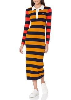 Lacoste Women's Long Sleeve Bold Stripe Maxi Polo Dress Enzian/Navy Blue-Redcurrant Bush