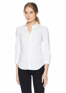 Lacoste Women's Long Sleeve Classic Solid Stretch Poplin Shirt-Slim Fit