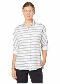 Lacoste Womens Long Sleeve Clean Striped Fluid Cotton Blouse Blouse