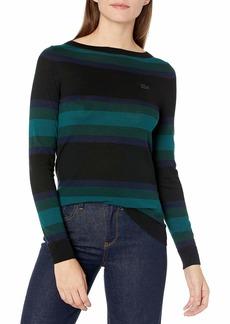 Lacoste Women's Long Sleeve Colorblock Stripe Sweater Black/Navy Blue/Sinople/BEECHE