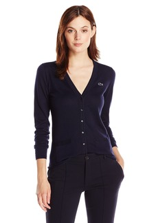 Lacoste Women's Long Sleeve Cotton Jersey Ottoman Vneck Cardigan