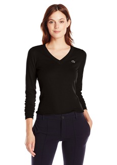 Lacoste Women's Long Sleeve Cotton Jersey Ottoman Vneck Sweater