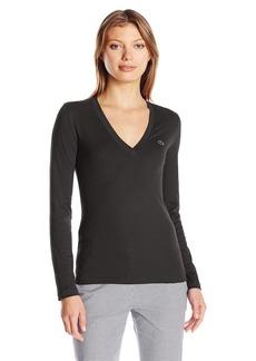 Lacoste Women's Long Sleeve Cotton Jersey Vneck Tee Shirt