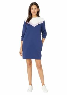 Lacoste Women's Long Sleeve French Terry Colorblock Dress Methylene/Provence Purple-Flour