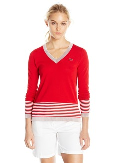 Lacoste Women's Long Sleeve Placement Cotton Crepe Vneck Sweater