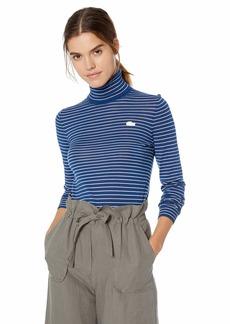 Lacoste Women's Long Sleeve Striped Wool Turtleneck
