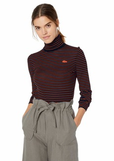 Lacoste Women's Long Sleeve Striped Wool Turtleneck