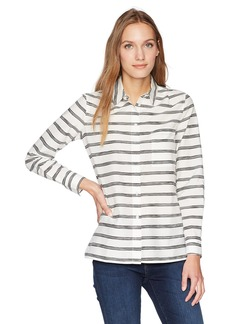 Lacoste Women's Long Sleevecotton Silk Veil Hand Made Stripes Shirt Cf3914