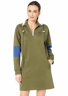 Lacoste Women's L/S Neoprene Dress W/Pockets Caper Bush/Inkwell/geode