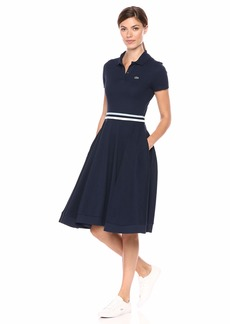Lacoste Women's Made in France FIT and Flare Polo Dress Creek/Navy Blue/White