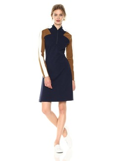Lacoste Women's Made in France Long Sleeve Milano Polo Dress Navy Blue/Dark Renaissance Brown-Flour
