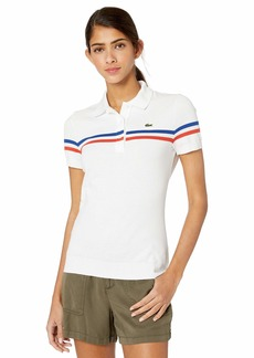 Lacoste Women's Made in France S/S Slim FIT Polo Captain/White/SALVIA
