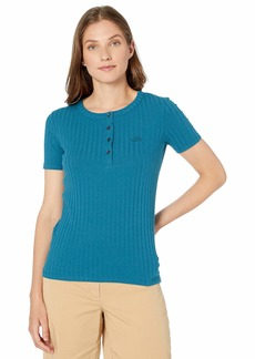 Lacoste Women's Ribbed Cotton-Poly S/S Henley LUCIDA