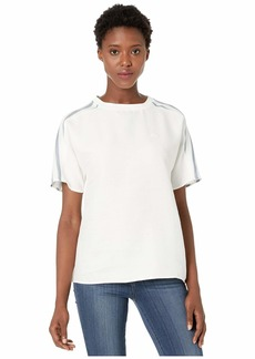 Lacoste Women's Short Fluid Cotton Blouse W/Striped Sleeves