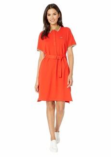 Lacoste Women's Short Sleeve Belted Semi Fancy Pique Polo Dress Corrida/Leafy-Marten S