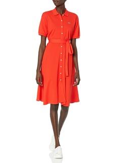 Lacoste Women's Short Sleeve Buttondown Belted Pique Polo Dress