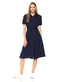 Lacoste Women's Short Sleeve Classic Pique Belted Polo Dress Ef389