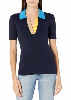 Lacoste Women's Short Sleeve Colorblock Collar Buttonless Polo Shirt Navy Blue/Ibiza-Wasp-Vien