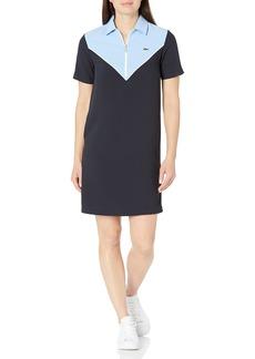 Lacoste Women's Short Sleeve Colorblock Zip Placket Dress Abysm/White-NATTIER Blue 07E