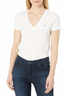 Lacoste womens Short Sleeve Cotton Jersey V-neck T-shirt T Shirt   US